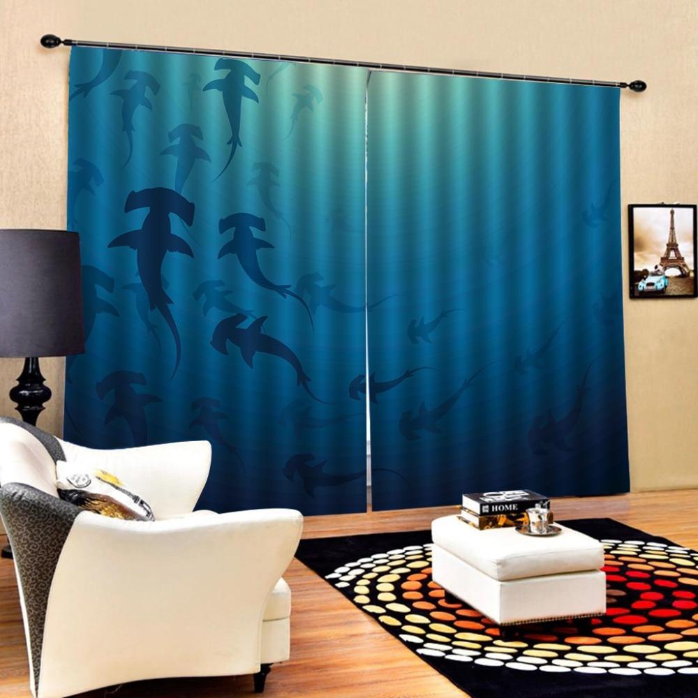 Blue Curtains 3D Window Curtain Dinosaur Print Luxury Blackout For Living Room  Blackout Curtain