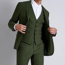 Hunter Green Mens Classic Suits Wedding Groom Tuxedos Slim Fit Terno Masculino Peaked Lapel Man Blazers 3Piece Coat Pants Vest grey mens suits with pants groom wedding tuxedos terno masculino black velvet peaked lapel man blazers 3piece coat pants vest