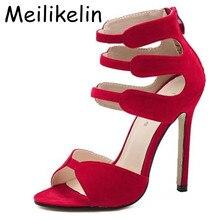Новый Гладиатор Высокие Каблуки Сандалии Женщины Сексуальное Открытым Носком Вырезами Женская Обувь Молния Свадьба Стилет Нагнетает Ботинки