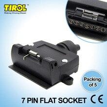 TIROL T21613d New 7-Pin Flat Trailer Socket Light Connector 12V 7 Way Female Trailer Adapter Caravan RV Boat Truck