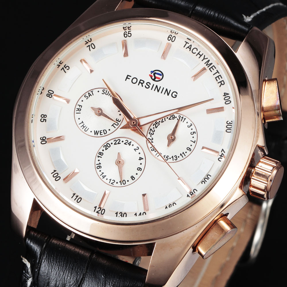 FORSINING Brand Automatic Mechanical Formal Clock Tachymeter Auto Date Dial Rose Gold Watch Leather Men Dress Wrist Watches Gift forsining tourbillon designer month day date display men watch luxury brand automatic men big face watches gold watch men clock