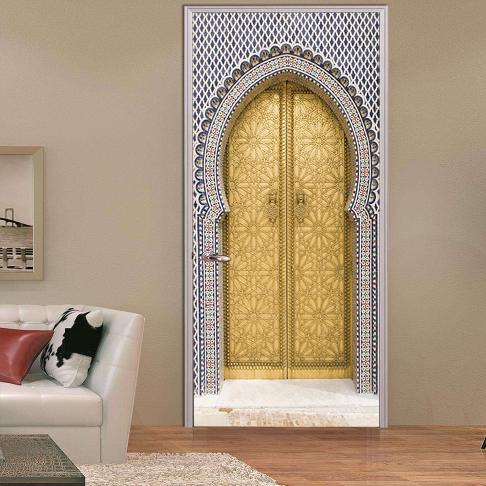 Image 5 - 3D Ethnic Style Fake Door Door Stickers Waterproof Removable DIY Self Adhesive Wall Decals Home Bedroom Background Wall Decor-in Wall Stickers from Home & Garden