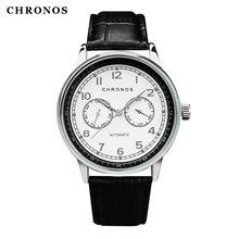 Здесь можно купить   2017 Big Dial Watch CHRONOS Men Top Brand Fashion PU Leather Watches Military Male Sport Quartz Wristwatch Relogio Masculino Quartz Wristwatches