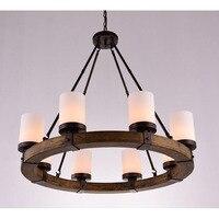 Ретро деревня пердант свет американский деревянный круглый железный светильник Люстра для Вилла/гостиная/библиотека/музей/ретро кафе