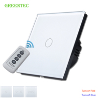 EU Standard Touch Remote Switch White Crystal Glass Panel 170 240V LED Indicator Wall Light Remote