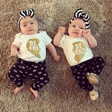 3pcs Neugeborenen Baby Boy Outfits Kleidung Strampler Hosen Legging Set Xo and Love Letter Pants