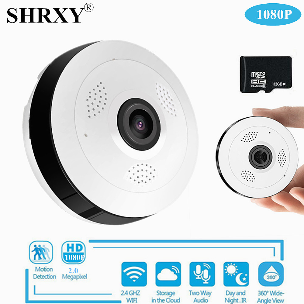 SHRXY 360 Degree Panoramic Wide Angle MINI Cctv Camera 1080P HD Wireless Smart IP Camera Fisheye Home Security V380 Wifi Camera