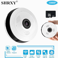 SHRXY 360 Degree Panoramic Wide Angle MINI Cctv Camera 1080P HD Wireless Smart IP Camera Fisheye