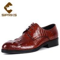 Sipriks Big Size 37 45 Burgundy Dress Leather Shoes Mens Printed Crocodile Skin Oxfords Grooms Wedding Shoes Gents Suit Shoes