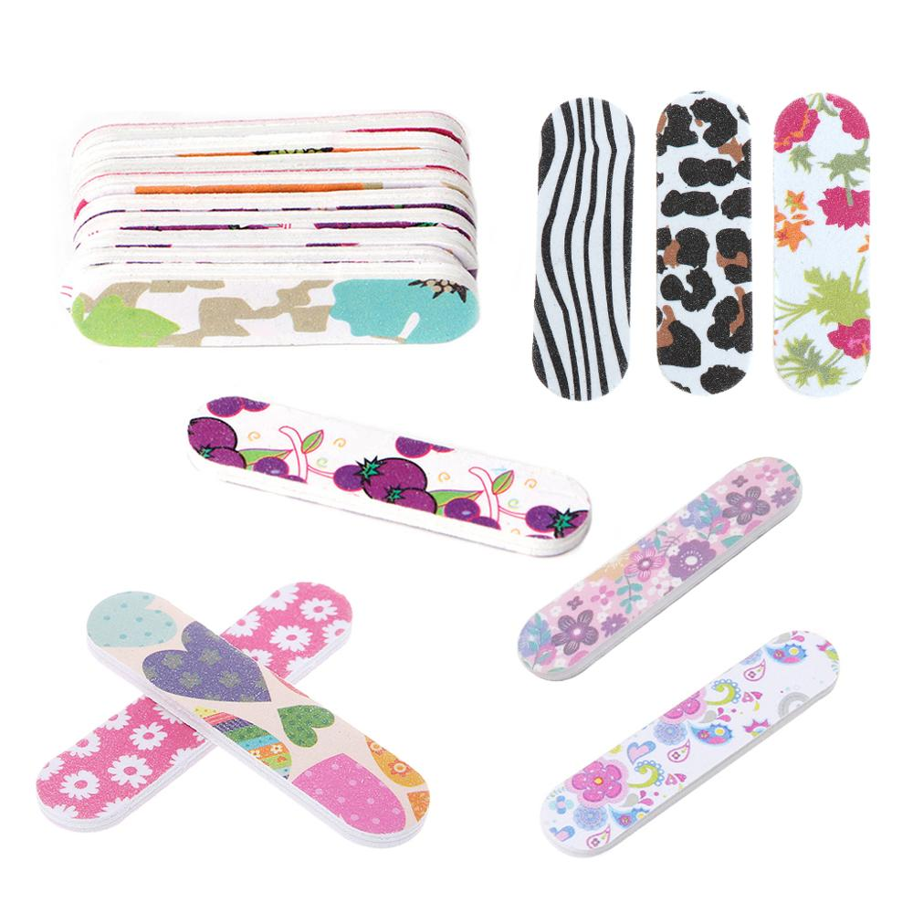 Mini Pro Nail Files Cute Round Double Sided Grit Nail Art Tips Tools Manicure
