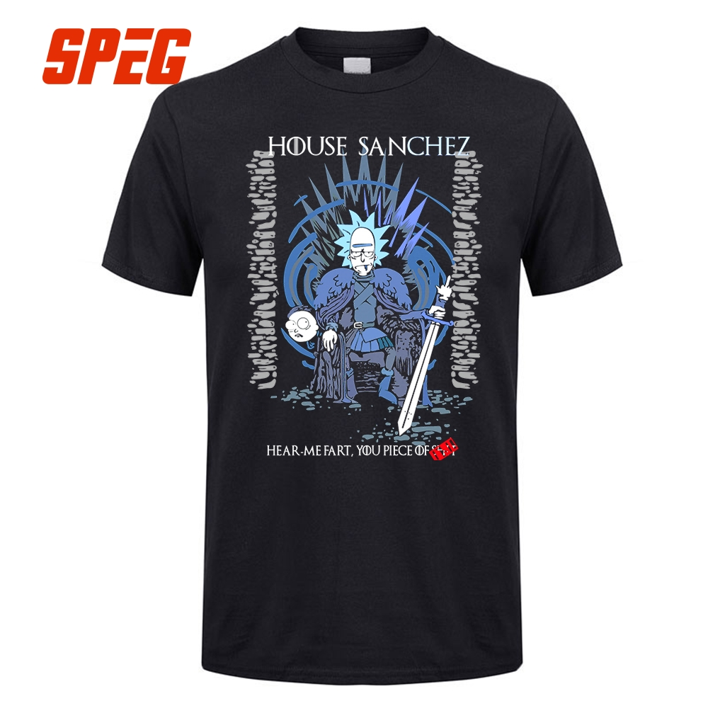 Rick and Morty Game of Thrones T-Shirt House Sanchez Funny Tee Shirts Men Round Collar Tees Create Men Cool T Shirt Short Sleeve