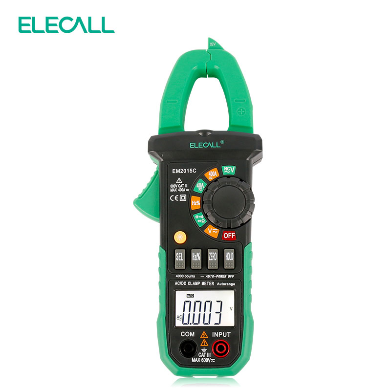 ELECALL EM2015C AC/DC Current And Capacitance Measurement Digital Clamp Meter NCV Duty Cycle With Torch Easy To Separate Wire