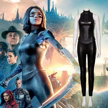 Alita Battle Angel Alita Cosplay costume Faux Leather Sexy Black suit for women girl Top pants Carnival Alita Outfit