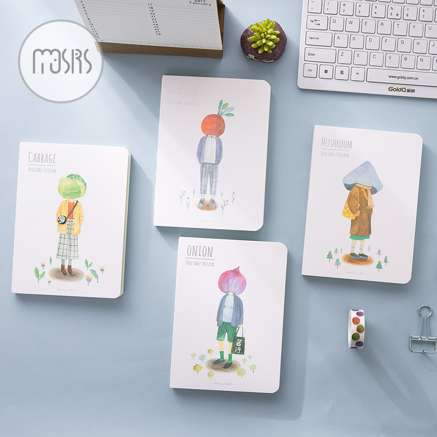MOUSRS A5 Fruit Vegetable Series Blank Page Notepad Diary Notebook Sketchbook 1PCS