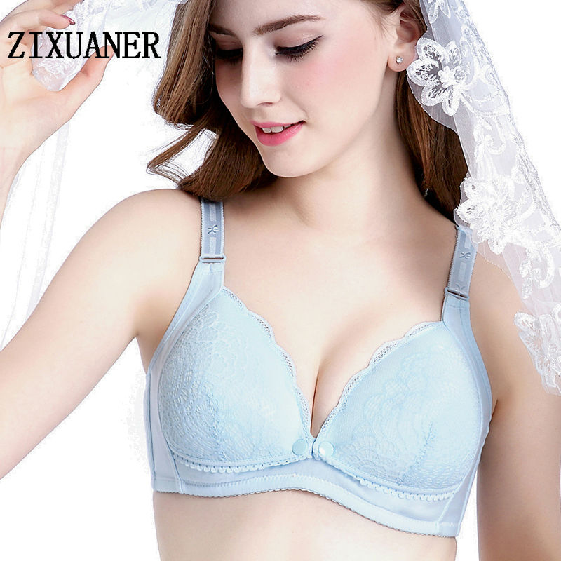 49e87509485c4 Cotton Maternity Bra For Pregnant Women Breastfeeding Bras Soft Lace Wire  Free Front Button Nursing Mothers Underwear BC Cup