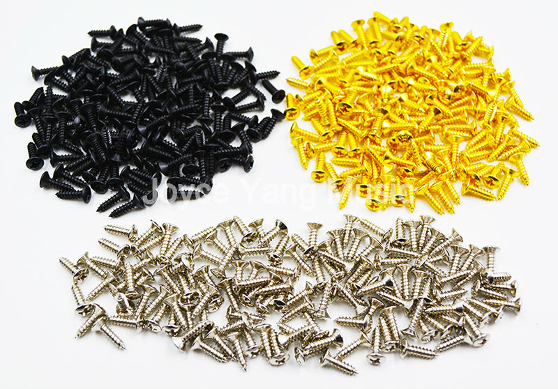 Niko Pack of 50pcs Chrome/Black/Gold Guitar Pickguard Mounting Screws 3*12mm For ST/TL LP/SG Electric Guitar Bass image