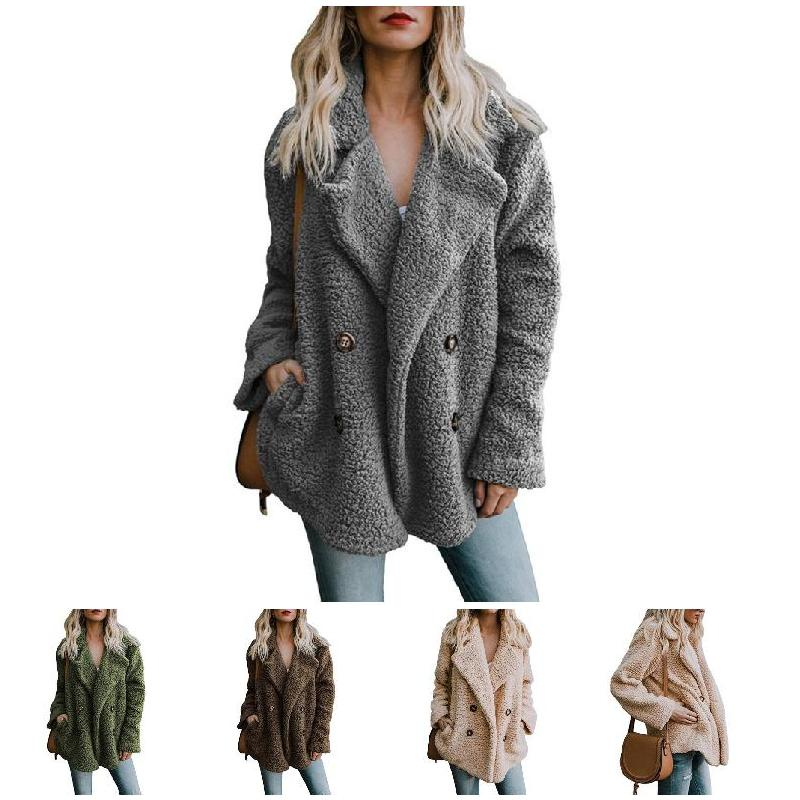 Women Autumn Coat Cotton Cardigan Button Pockets Double-breasted Long Sleeves  FS99