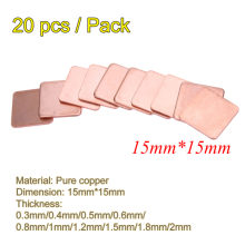 20 Stks/pak 15 Mm X 15 Mm 0.3 Mm 0.4 Mm 0.5 Mm 0.6 Mm 0.8 Mm 1 Mm Dik heatsink Koper Shim Thermische Pads Voor Laptop Ic Chipset Gpu Cpu(China)