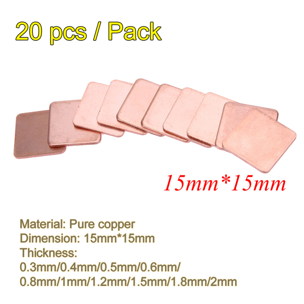 20 Pcs/pack 15mmx15mm 0.3mm 0.4mm 0.5mm 0.6mm 0.8mm 1mm Thick Heatsink Copper Shim Thermal Pads For Laptop IC Chipset GPU CPU