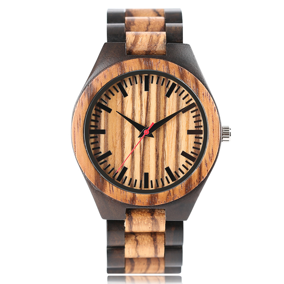 Wholesale Price Classic Nature Zebra Wooden Wristwatch Men Quartz Analog Creative Watches Bangle Handmade Wood Clock Dropshiping yisuya luxury wooden watches for men vintage analog quartz handmade walnut zebra bamboo wood band wristwatch clock gifts reloj