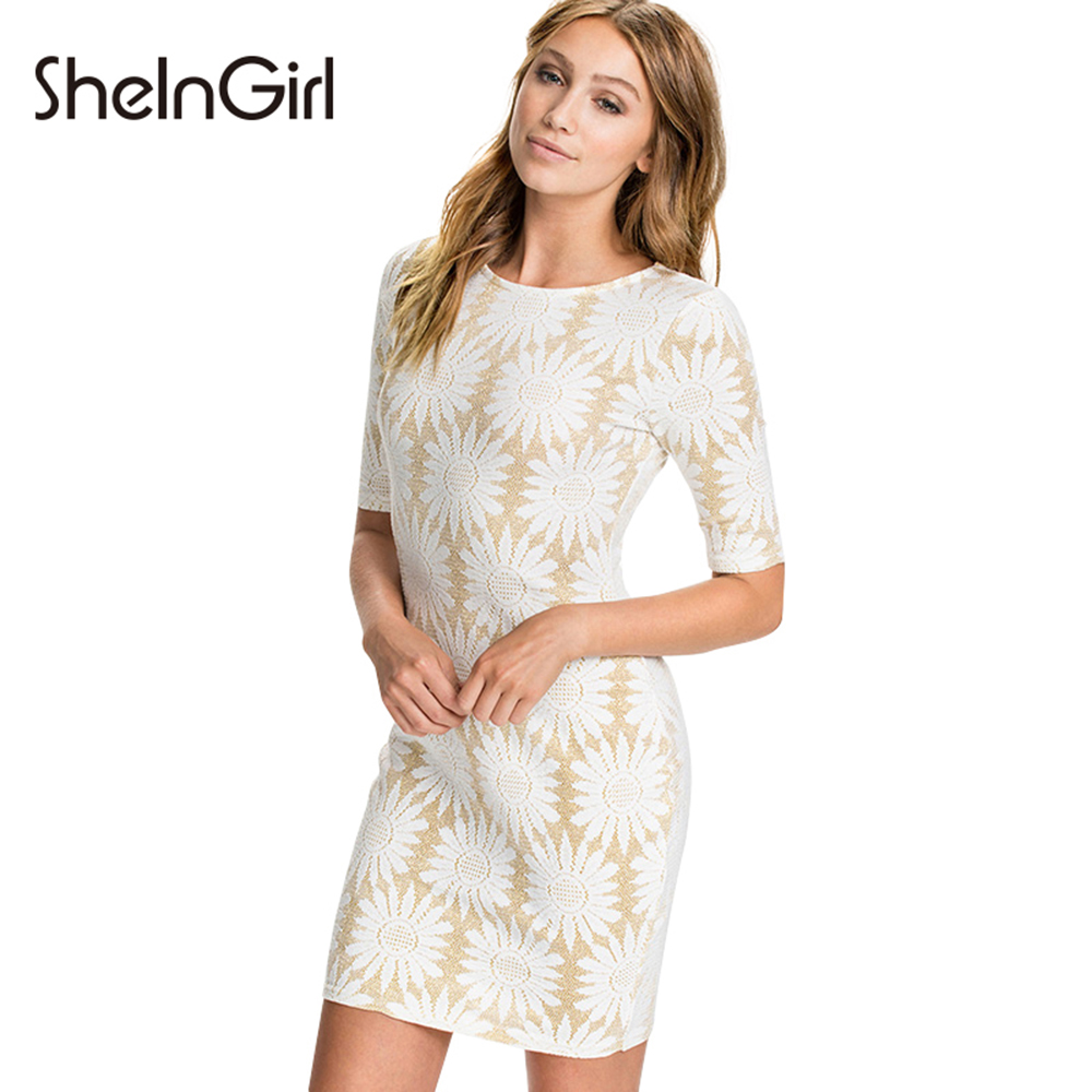 The dress white gold - Sheingirl Summer Women Dress Sexy Gold Patchwork White Floral Print Bodycon Mini Dress Vestidos Pullovers Basic