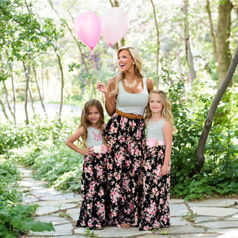 Family Matching Outfits Clothes Summer Mother Daughter Dresses Womens Girls Floral Striped Long Maxi Tunic Party Dress