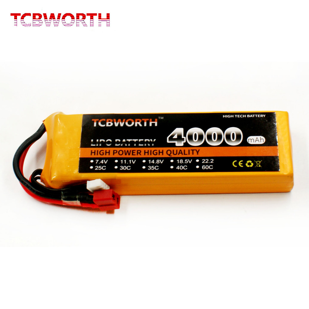 TCBWORTH 2S 7.4V 4000mAh 25C Max 50C RC LiPo Airplane battery For RC Helicopter Quadrotor Drone Car boat Truck Li-ion batteria tcbworth 11 1v 3300mah 60c 120c 3s rc lipo battery for rc airplane helicopter quadrotor drone car boat truck li ion battery