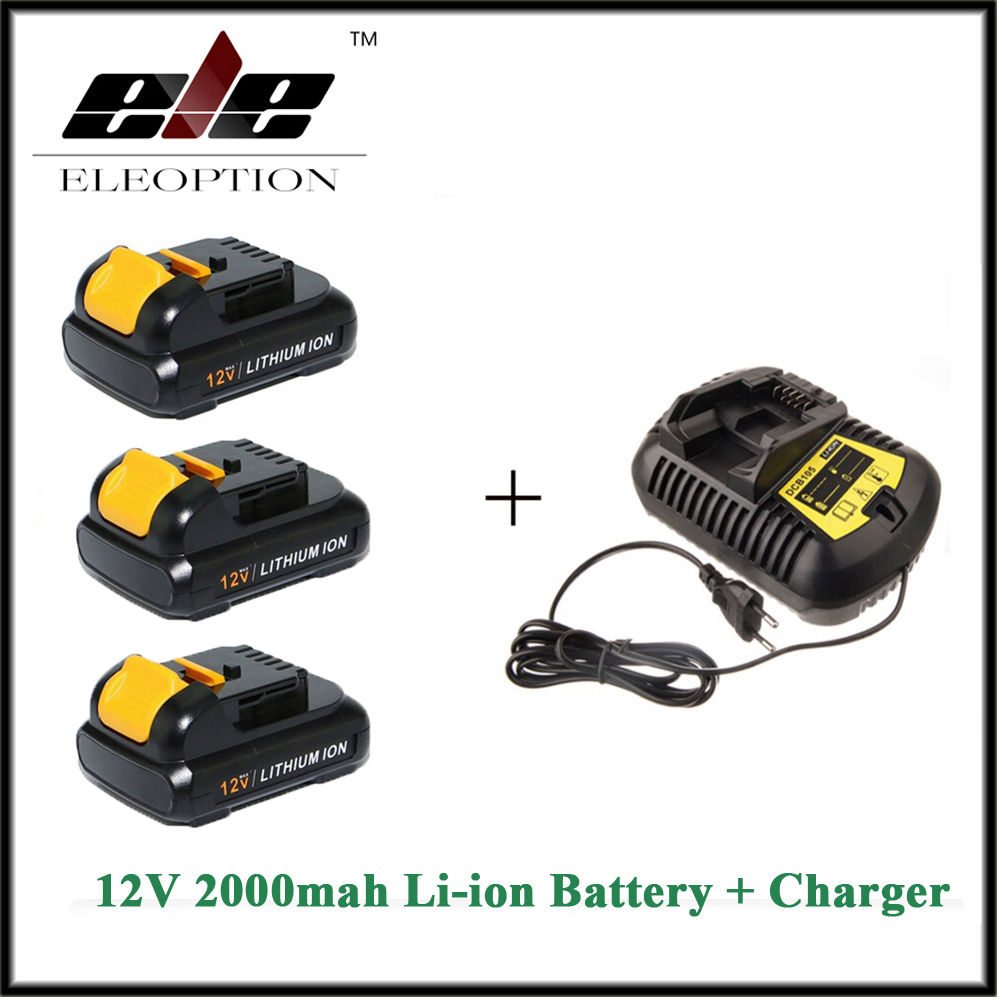 3 PCS 12V 2.0Ah 2000mah MAX Li-ion Eleoption power tool Battery For Dewalt DCB120 DCD710 DCF813 DCF815 DCF610 And charger eleoption 2pcs 18v 3000mah li ion power tools battery for hitachi drill bcl1815 bcl1830 ebm1830 327730