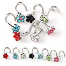 Stainless Steel Crrystal Nose Open Hoop Ring Earring Body Piercing Multicolor flower Nose Studs Women Stud Jewelry Drop Shipping(China)