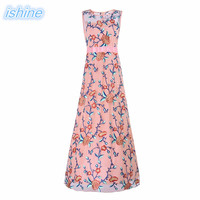 Fall 2017 Fashion Women Floral Embroidery Long Style Party Dresses Pink Women Clothing Christmas Prom Sleeveless Party Dresses