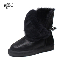 Top Quality New Arrival 100 Waterproof Genuine Cowhide Leather Snow Boots Real Fur Classic Mujer Botas