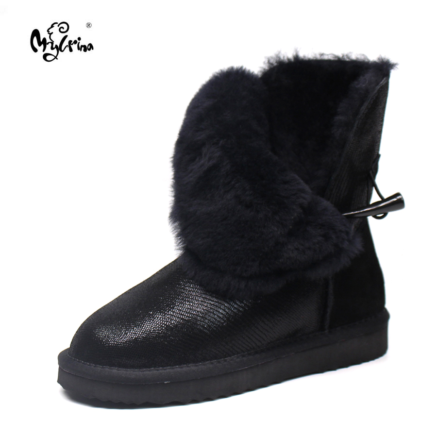 Top Quality New Arrival 100% Waterproof Genuine Cowhide Leather Snow Boots Real Fur Classic Mujer Botas Winter Women Shoes 2017 new arrival kind of shoes waterproof leather boots us7