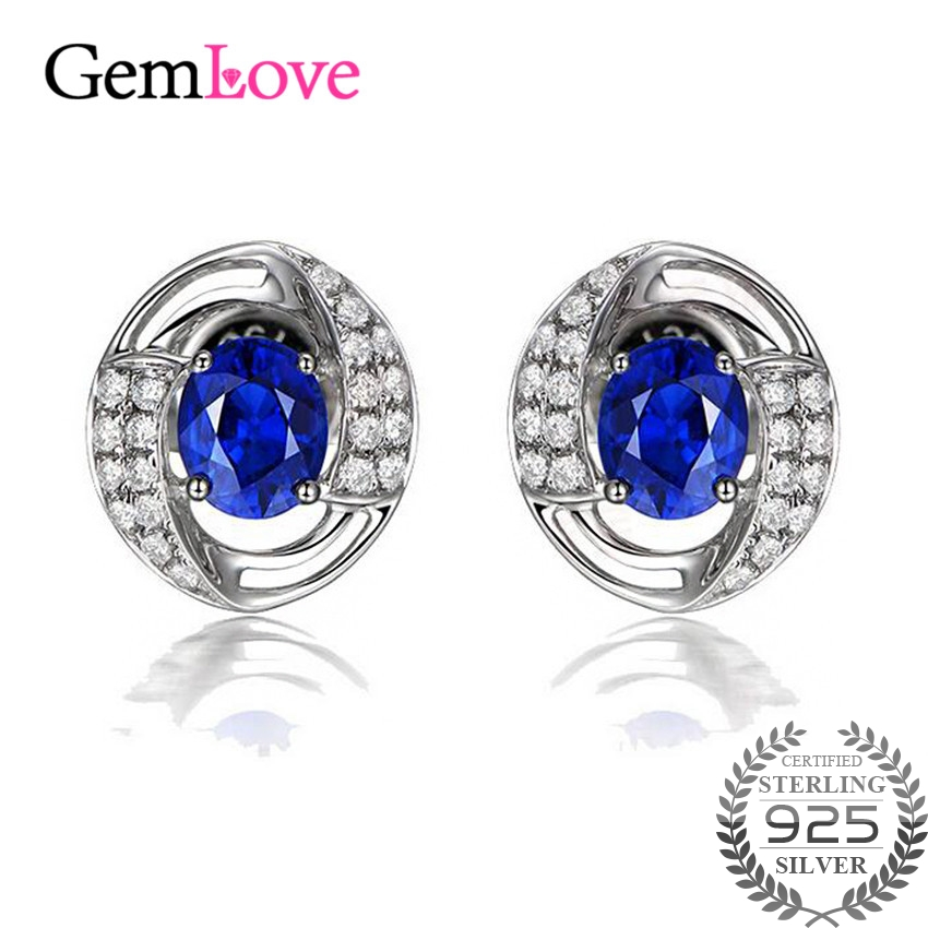 Gemlove 925 Sterling Silver Earrings Blue Cubic Zirconia Stud Earrings for Girls Crested Sapphire Earings with