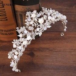 الفضة كريستال العرسان تيارا مع اللؤلؤ عقال تاج الزفاف للعرائس SQ0212 الزواج الشحن المجاني