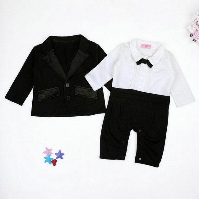 Crianças Crianças Meninos Roupas de Bebê Roupas Arco Bodysuits Macacões + Casaco Blazer Outwear 2 Peças Conjunto de Roupas Terno 5