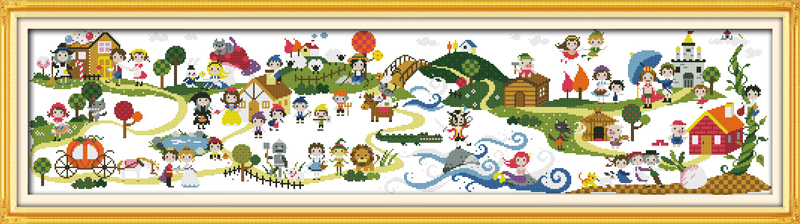 Children's playground, counted printed on fabric DMC 14CT 11CT Cross Stitch kits,embroidery needlework Sets Home Decor