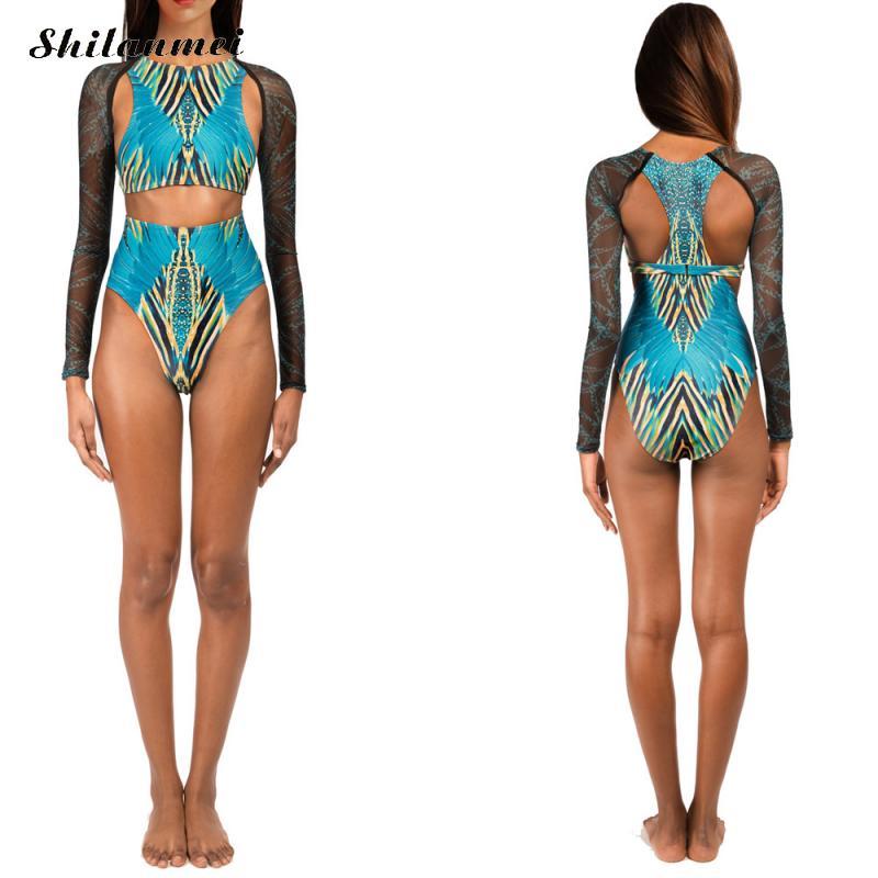 Blue African One Piece Swimsuit Long Sleeve Sexy Swimwear Women Monokini Swimsuit Cut Out Trikini 2019 Swimming Suit