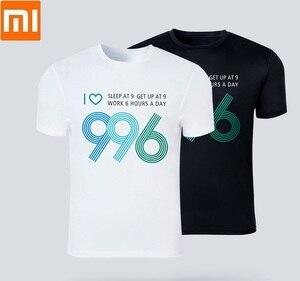 Image 1 - Xiaomi الرجال التجفيف السريع الطباعة 996 تي شيرت المضادة للأشعة فوق البنفسجية عالية مرونة ضوء تنفس الترفيه رجل قصير كم البلوز