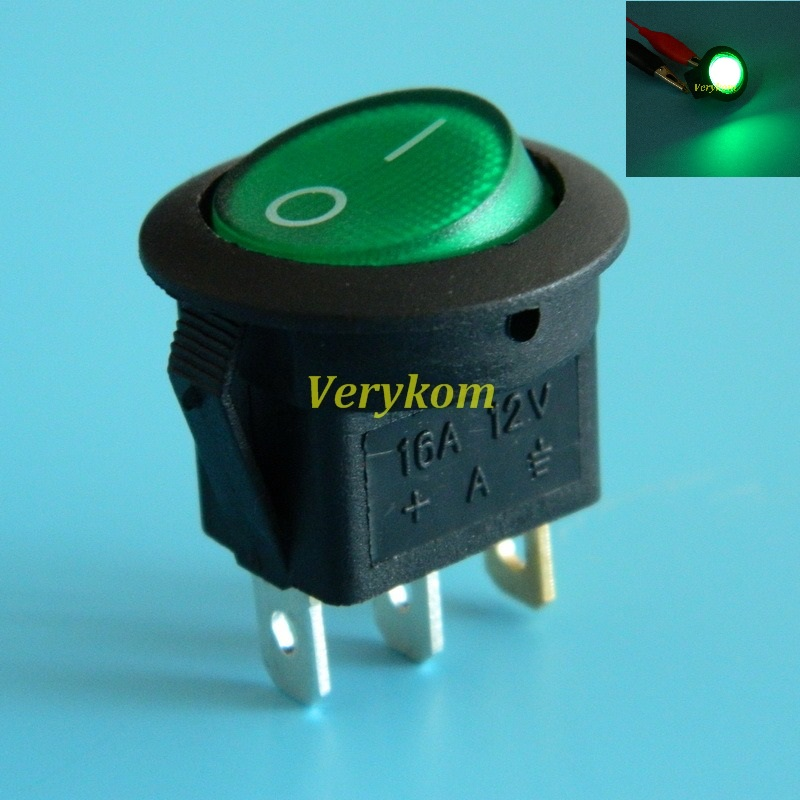 16a 12v Round Rocker Toggle Switch Led Spst Youtube