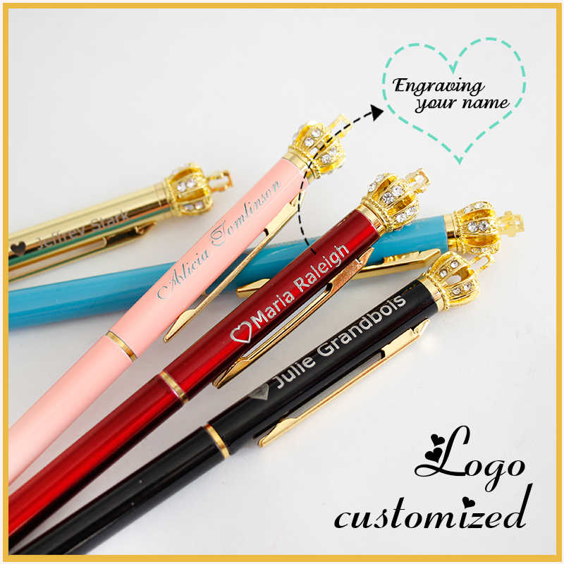 1pc Crown Metal Ballpoint Pens Cute Creative Stationery Pen Daily Writing Laser Customized LOGO Carving Office Supplies Gift Pen