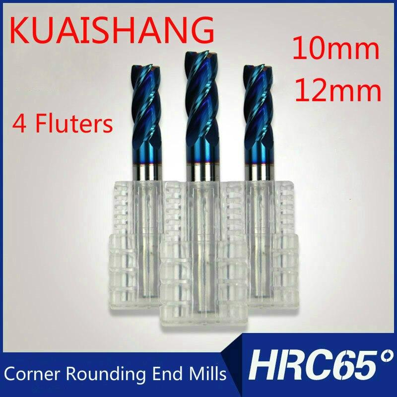 KUAISHANG 4flutes 10mm 12mm Solid Carbide Corner Rounding End Mills CNC Milling Cutter HRC65 Tungsten steel