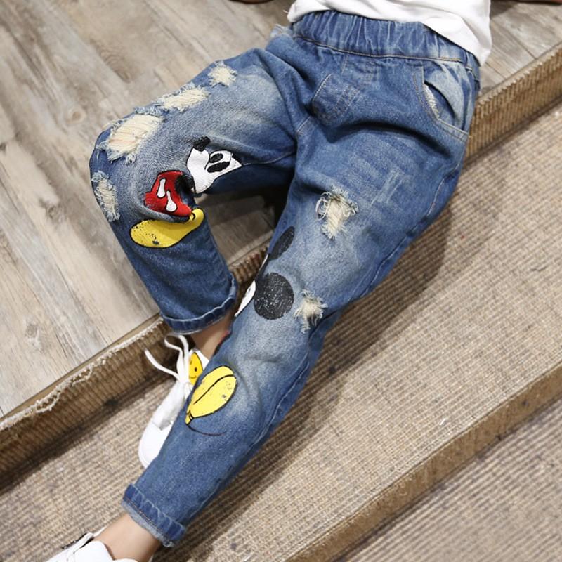 2016-Autumn-New-Mickey-Cartoon-Printed-Elastic-Waist-Korean-Girls-Children-Denim-Jeans (3)