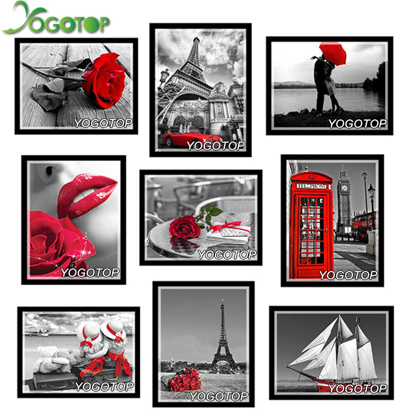 24 Optional Pictures DIY Diamond Painting Cross Stitch Needlework Diamond Mosaic Diamond Embroidery Flowers Rose Crafts NW309