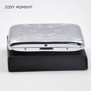 COSY MOMENT 16pcs packing Cigarette Case Metal Slim Tobacco Pocket Box Storage Case Holder Wallet etui cigarettes boite YJ129(China)