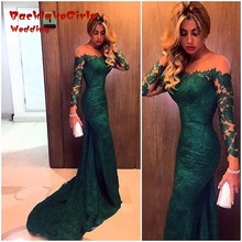 Bridesmaid Dress 2017 Dark Green mermaid Lace Custom made vestidod e festa long sleeves Handmade Party Dresses