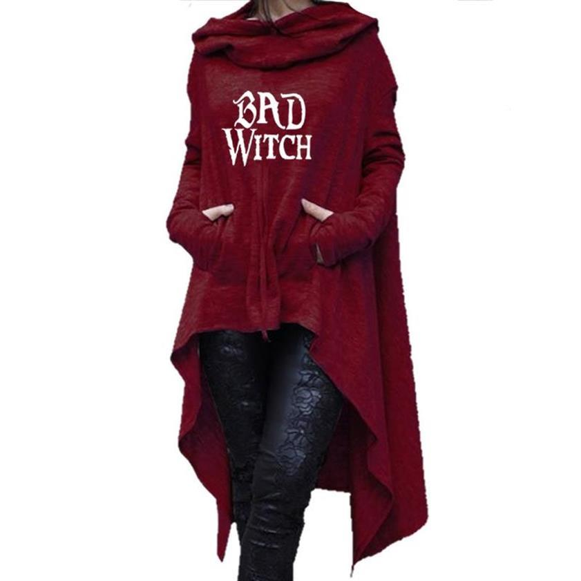 Bad Witch Letters Print Hoodies For Women Hallowee Sweatshirts Femmes Tops Casual Hoody Corduroy Loose Buckle Comfortable