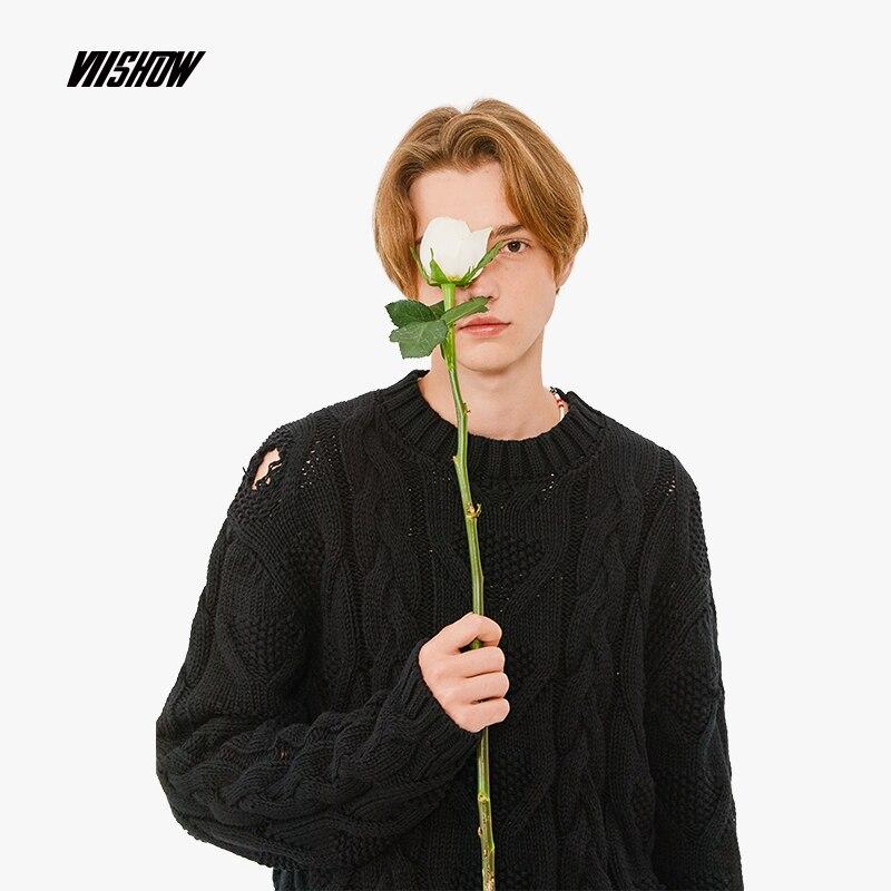 VIISHOW отверстие Для мужчин свитер Фирменный Пуловер Для мужчин свитер 2018 Новый Тянуть homme сплошной черный свитер Для мужчин Sueter Hombre ZC1852183