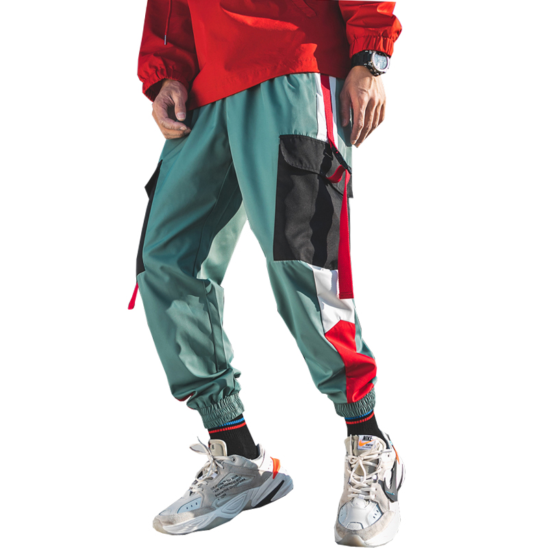 Baggy-Pants Mens Joggers Men Streetwear Ribbon-Trousers Male Newest Side Spring ABZ228