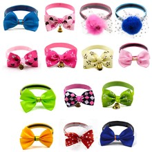 20/50/100pcs Fashion  Adjustable Dog Collar Cat Pet Cute Bow Tie With Bell Puppy Kitten Necktie puppy Grooming Bows