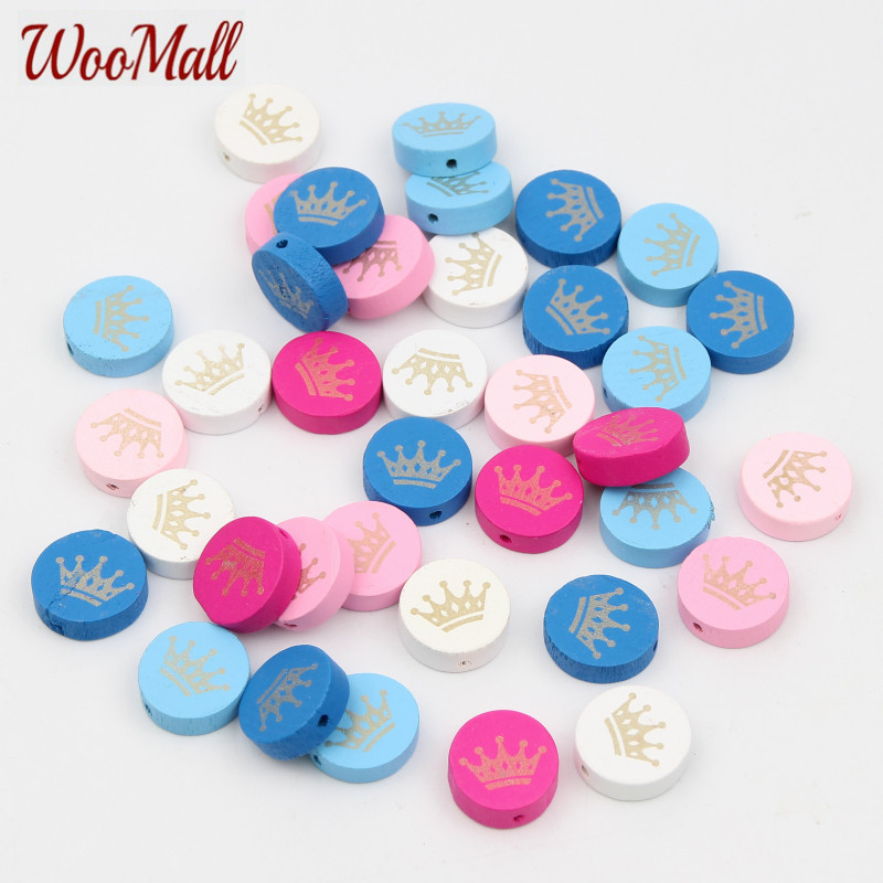 Crown Spacer Beading 30pcs Wood Beads 20mm For Baby DIY Toys Crafts Kids Toys & Pacifier Clip Wooden Beads